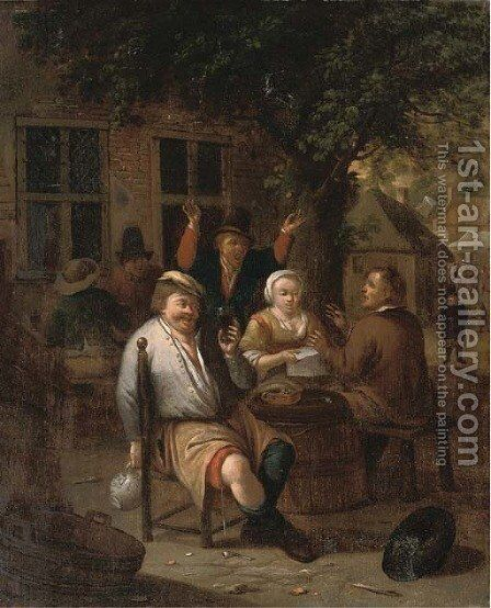 Peasants drinking and merrymaking by (after) Richard Brakenburgh - Reproduction Oil Painting