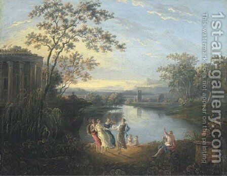 An Arcadian landscape with figures dancing by a river, a ruined castle beyond by (after) Richard Wilson - Reproduction Oil Painting