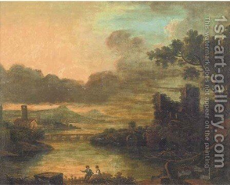 Figures in an Arcadian landscape by (after) Richard Wilson - Reproduction Oil Painting