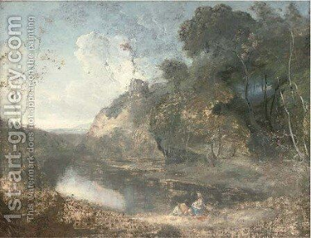 A wooded river landscape, with countryfolk resting in the foreground, a hilltop ruin beyond by (after) Richard Wilson - Reproduction Oil Painting
