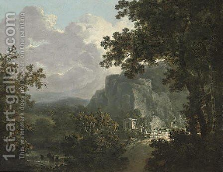 An extensive wooded river landscape with classical ruins by (after) Richard Wilson - Reproduction Oil Painting