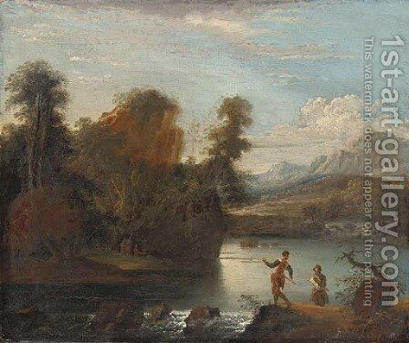 Anglers by a weir by (after) Robert Carver - Reproduction Oil Painting