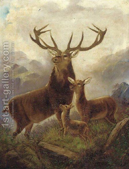 A stag with hinds in a Highland landscape by (after) Robert Cleminson - Reproduction Oil Painting