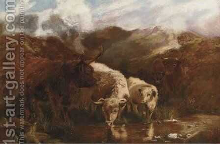 Highland cattle by (after) Robert F. Watson - Reproduction Oil Painting