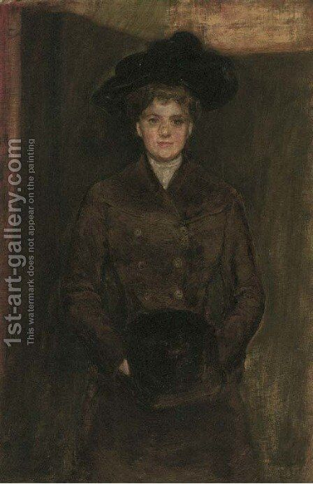 Portrait of a lady by (after) Robert Sauber - Reproduction Oil Painting