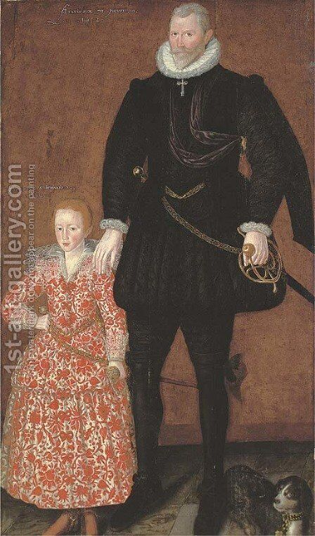 Portrait of Sir Edward Pytts, of Kyre Wyard, Worcestershire, and his grandson by (after) Robert Peake - Reproduction Oil Painting