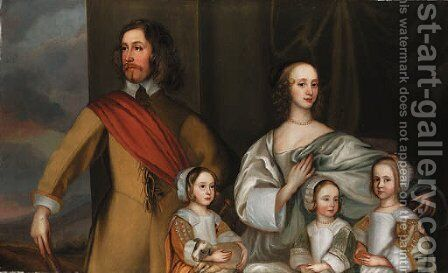 Group portrait of Alexander Popham of Littlecote, Wiltshire, with his wife, Letitia Carre, and three daughters, Essex, Letitia and Anne, by a window w by (after) Robert Walker - Reproduction Oil Painting