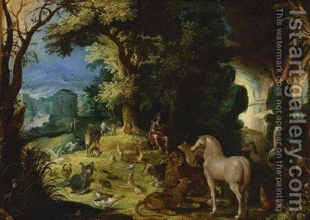 Orpheus charming the animals by (after) Roelandt Jacobsz Savery - Reproduction Oil Painting