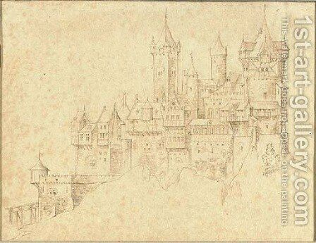 An extensive castle on a mountain peak by (after) Roelandt Jacobsz Savery - Reproduction Oil Painting