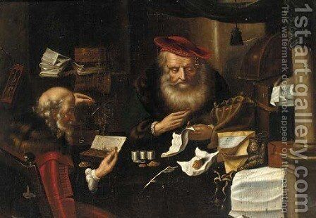 Merchants counting money by (after) Salomon Koninck - Reproduction Oil Painting