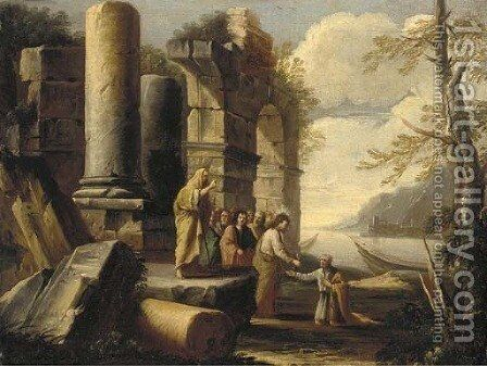 A capriccio of classical ruins with Christ's Charge to Peter by (circle of) Rosa, Salvator - Reproduction Oil Painting
