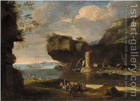 A Mediterranean costal inlet with figures on the shore by (circle of) Rosa, Salvator - Reproduction Oil Painting