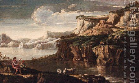 A rocky Italianate landscape with drovers and cattle at a pool by (circle of) Rosa, Salvator - Reproduction Oil Painting