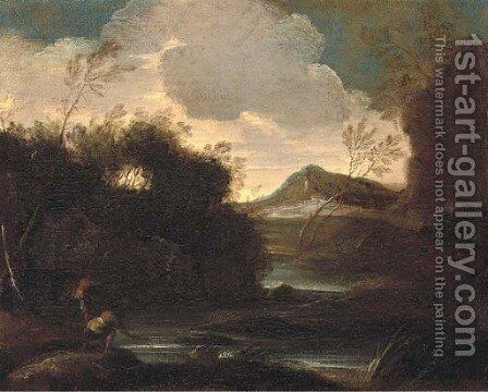 A wooded river landscape with fishermen, mountains beyond by (circle of) Rosa, Salvator - Reproduction Oil Painting