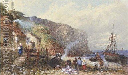 A coastal hamlet with figures selling fish on the foreshore by (after) Samuel Austin - Reproduction Oil Painting