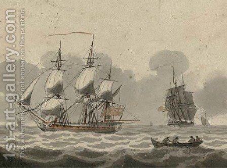 Frigates passing in the Channel by (after) Samuel Owen - Reproduction Oil Painting
