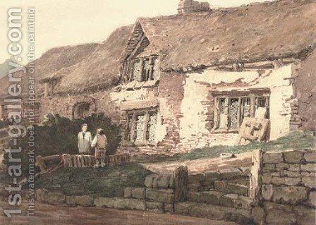 Old cottages, Devonshire by (after) Samuel Prout - Reproduction Oil Painting