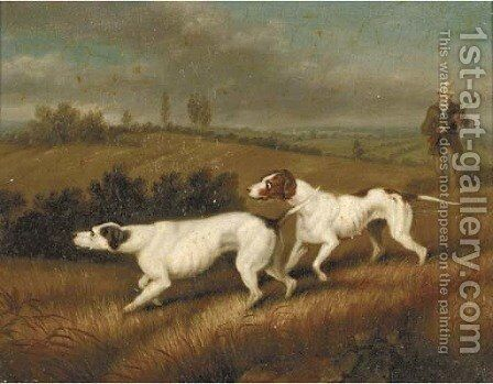 A huntsman with two gundogs; and A gundog in heather by (after) Samuel Raven - Reproduction Oil Painting