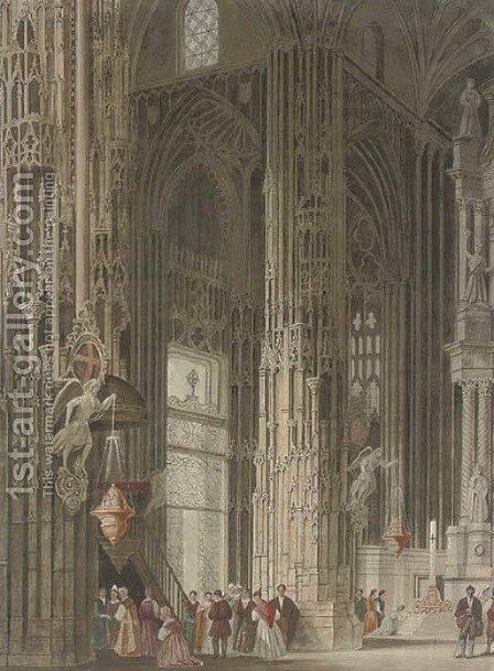 Visitors to the cathedral by (after) Samuel A. Rayner - Reproduction Oil Painting