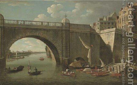 A view through Westminster Bridge looking west towards Lambeth Palace, with figures and boatmen in the foreground by (after) Samuel Scott - Reproduction Oil Painting