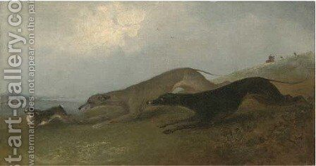 Hare coursing by (after) Samuel Spode - Reproduction Oil Painting