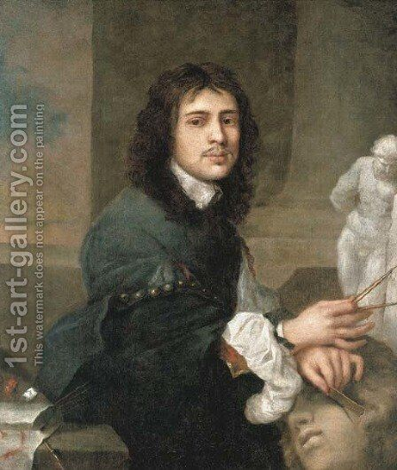 Portrait of an artist drawing after the Antique by (after) Sebastien Bourdon - Reproduction Oil Painting