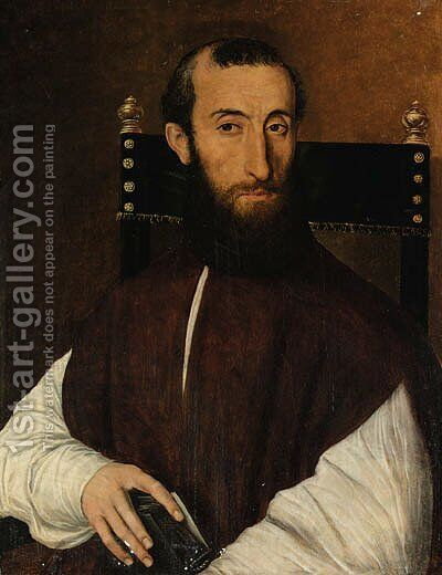 Portrait of a cleric by (after) Scipione Pulzone Da Gaeta - Reproduction Oil Painting