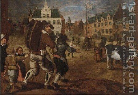 A town square with workers preparing for a kermesse by (after) Sebastian Vrancx - Reproduction Oil Painting