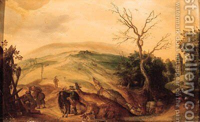 A traveller and pilgrims halting near a chapel on a country road, a church and a valley beyond by (after) Sebastian Vrancx - Reproduction Oil Painting