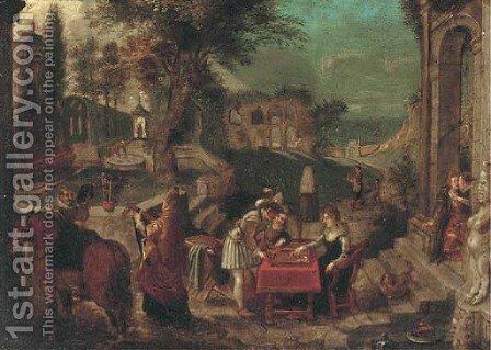 An extensive Italianate landscape of a country house garden with Roman ruins, backgammon players, an amorous couple and a lute player in the foregroun by (after) Sebastian Vrancx - Reproduction Oil Painting
