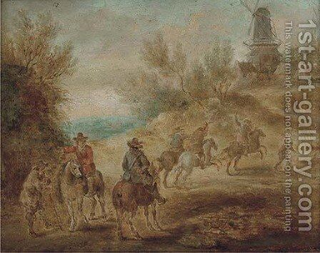 Cavalrymen making for a hilltop village with a mill by (after) Sebastian Vrancx - Reproduction Oil Painting