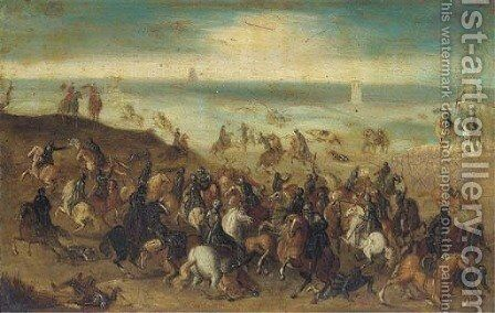The Battle between Officers Breaute and Gerard Abrahamsz., called Lekkerbeetje, at Vught, 5 February 1600 by (after) Sebastian Vrancx - Reproduction Oil Painting