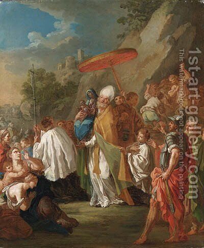 A procession with a bishop carrying a statue of the Madonna and Child by (after) Sebastiano Conca - Reproduction Oil Painting
