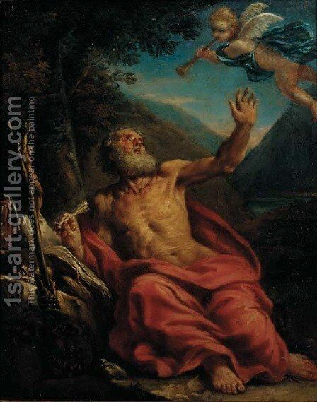 Saint Jerome in the Wilderness by (after) Sebastiano Conca - Reproduction Oil Painting