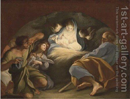 The Adoration of the Shepherds, in a feigned arch by (after) Sebastiano Conca - Reproduction Oil Painting