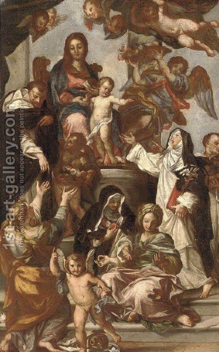 The Madonna of the Rosary with Saint Catherine of Siena, Saint Dominic and members of the Dominican Order by (after) Sebastiano Conca - Reproduction Oil Painting