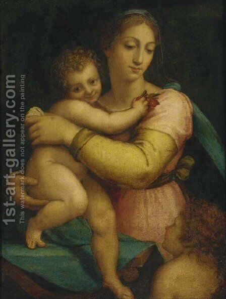 The Madonna and Child with the Infant Saint John the Baptist by (after) Sebastiano Del Piombo (Luciani) - Reproduction Oil Painting