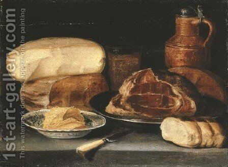 A ham on a pewter dish, a cheesestack, a jug, a glass, butter in a blue and white porcelain dish, bread and a knife on a ledge by (after) Sebastien Stoskopff - Reproduction Oil Painting