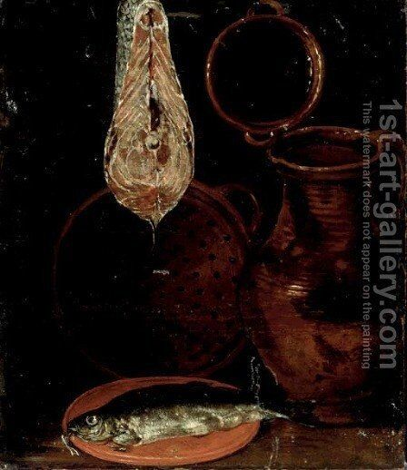 A water jug, a fish on a plate, a cut of salmon and a colander, on a table, a fragment by (after) Sebastien Stoskopff - Reproduction Oil Painting