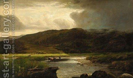 Cattle watering in a sunlit mountainous landscape by (after) Sidney Richard Percy - Reproduction Oil Painting