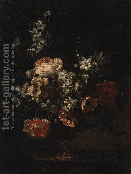 Carnations, Roses, Tulips and other Flowers in an glass Vase on a Ledge by (after) Simon Hardime - Reproduction Oil Painting