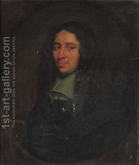 Portrait of a gentleman, traditionally identified as John Bacon by (after) Simon Luttichuys - Reproduction Oil Painting