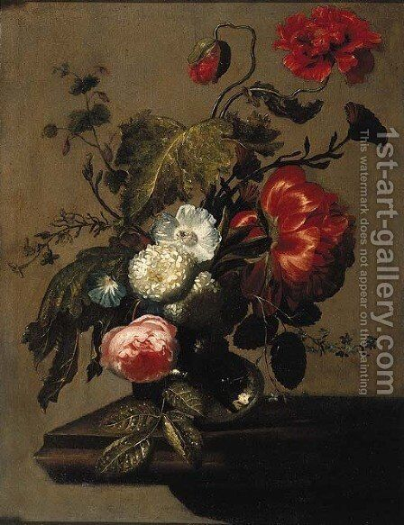 A peony, poppies, a rose, snowballs, an anemone and forget-me-nots in a glass vase on a stone ledge by (after) Simon Pietersz. Verelst - Reproduction Oil Painting
