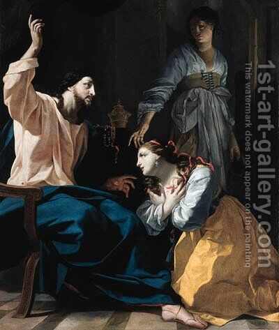 Christ in the house of Mary and Martha by (after) Simon Vouet - Reproduction Oil Painting