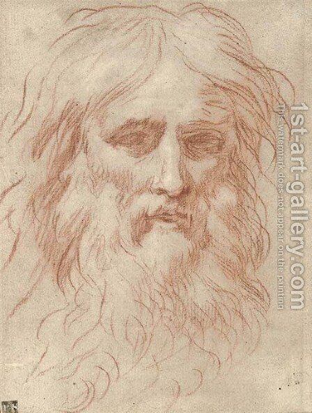 Head of a bearded man by (after) Simone Cantarini (Pesarese) - Reproduction Oil Painting