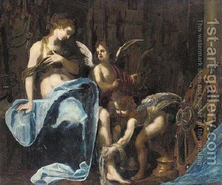 Saint Catherine of Alexandria tended by putti by (after) Simone Pignoni - Reproduction Oil Painting