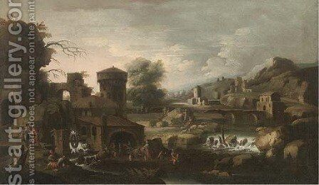 An extensive Italianate landscape with Tobias and the Angel by (after) Sinibaldo Scorza - Reproduction Oil Painting