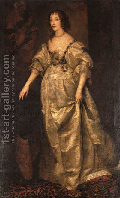 Portrait of Queen Henrietta Maria, full-length, in a white silk dress by (after) Dyck, Sir Anthony van - Reproduction Oil Painting