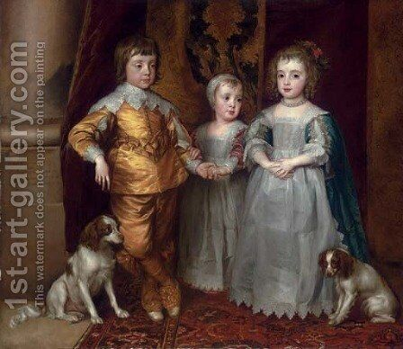 The three eldest children of Charles I Charles, Prince of Wales (1630-1685), Mary, Princess Royal (1631-1660), and James, Duke of York (1633-1701) by (after) Dyck, Sir Anthony van - Reproduction Oil Painting