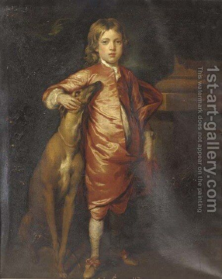 Portrait of a boy, full-length, in Van Dyck costume, with a greyhound, in a landscape by (after) Kneller, Sir Godfrey - Reproduction Oil Painting